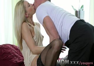 mom mature blond with miniature billibongs loves