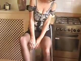 mature milf strips down and plays with her pussy
