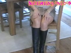 horny sexy pantyhose mommy in black leather boots