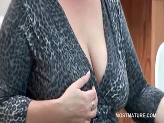 office lady teasing her older bumpers with a