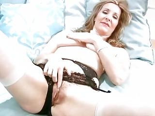 horny mature in underware finger masturbation