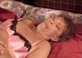 granny in pink lingerie copulates
