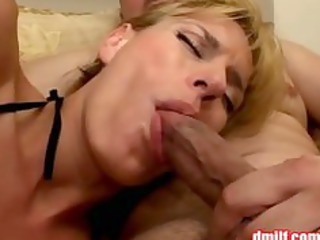 horny milf in fishnet hose gets gangbanged