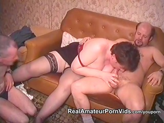 older fat housewife is fucked by two men