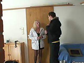 blonde grandma in black nylons fucks