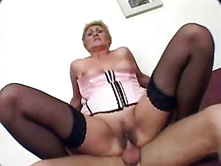 granny receives fucked and creampie