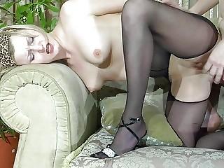 pale blonde milf in black pantyhose gets screwed