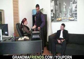 office woman pleases two weenies