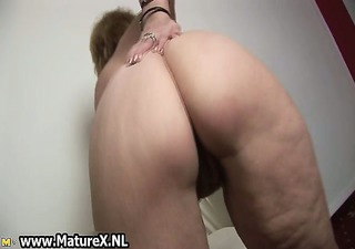 lustful old housewife enjoys squeezing