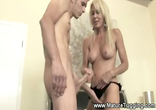 old babe gives boy his first handjob
