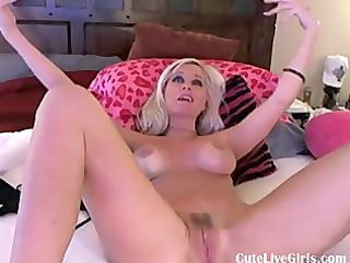 gorgeous american blonde fucking herself when