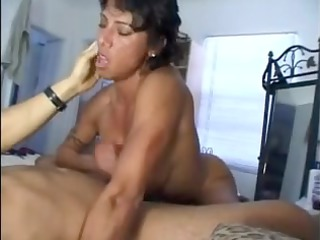 busty wife gives great handjob and titty fuck